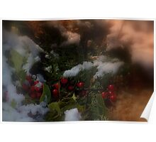 Snowy Christmas holly Poster