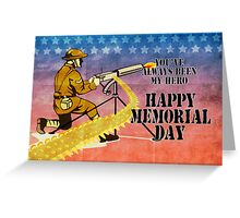 World War One American soldier firing machine gun  Greeting Card