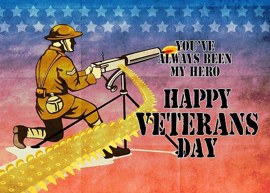 World War One American soldier firing machine gun by patrimonio
