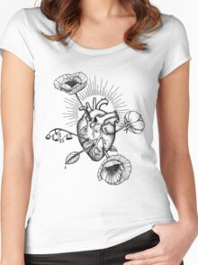 Heart and flowers-arrows Women's Fitted Scoop T-Shirt
