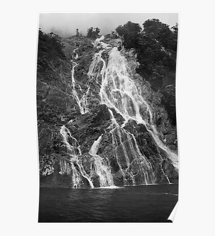Temporary Milford Sound waterfall Poster