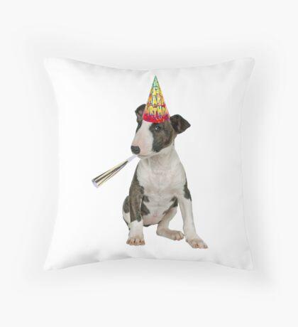 Bull Terrier Birthday Throw Pillow