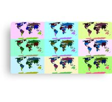 Warhol Style Colored World Map Canvas Print