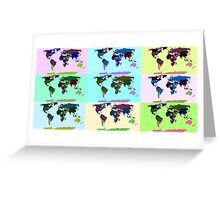 Warhol Style Colored World Map Greeting Card