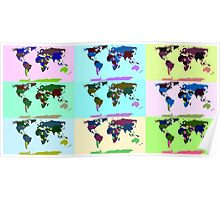 Warhol Style Colored World Map Poster
