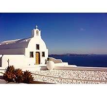 Santorini church overlooking the caldera Photographic Print