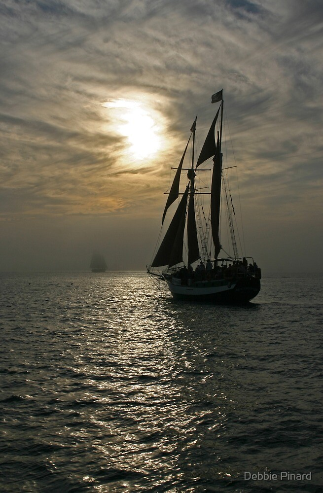 Tall Ship in the Fog - Key West by Debbie Pinard