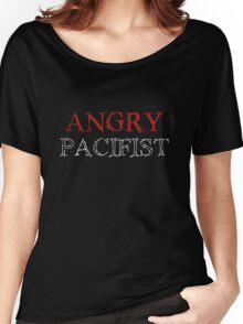 Angry Pacifist - Red And Half White Ink Women's Relaxed Fit T-Shirt