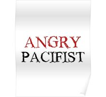 Angry Pacifist - Red And Black Ink Poster