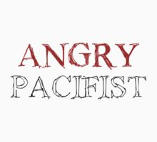 Angry Pacifist - Red And Half Black Ink Kids Tee