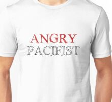Angry Pacifist - Red And Half Black Ink Unisex T-Shirt
