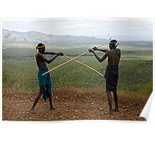 YOUNG MURSI MEN STICK FIGHTING Poster