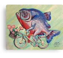 Piranha on a Bicycle Canvas Print