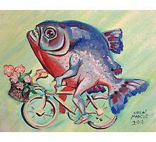 Piranha on a Bicycle Photographic Print
