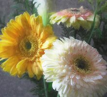 White and Yellow Gerbera and Calla 1 Painterly by Christopher Johnson