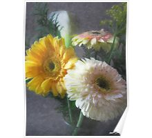 White and Yellow Gerbera and Calla 1 Painterly Poster