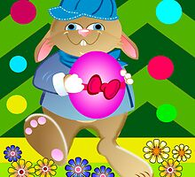 Happy Easter card with Bunny and Chickens by walstraasart
