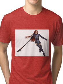 Female Elf Dragon Warrior - 2 Tri-blend T-Shirt