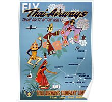 Thai Vintage Air Travel Poster Restored Poster