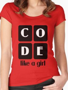 Code like a girl hooded pullovers geek funny nerd Women's Fitted Scoop T-Shirt