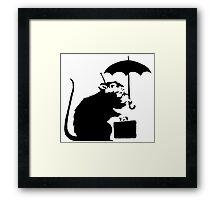 Banksy - Umbrella Rat Framed Print
