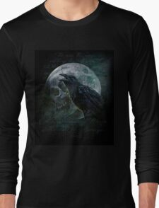 Moon raven skull Long Sleeve T-Shirt