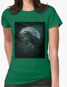 Moon raven skull Womens Fitted T-Shirt