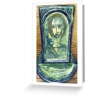 Ceramic hand painted water feature Greeting Card