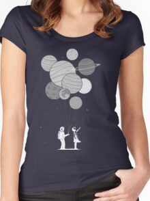 Between planets and balloons. Women's Fitted Scoop T-Shirt