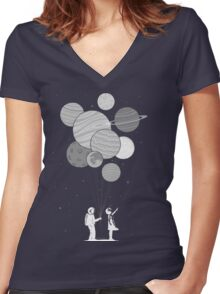 Between planets and balloons. Women's Fitted V-Neck T-Shirt