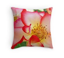 Colorful Bright Rose Pink White Red Flower Baslee Troutman Throw Pillow