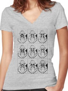 The many faces of Rorschach Women's Fitted V-Neck T-Shirt