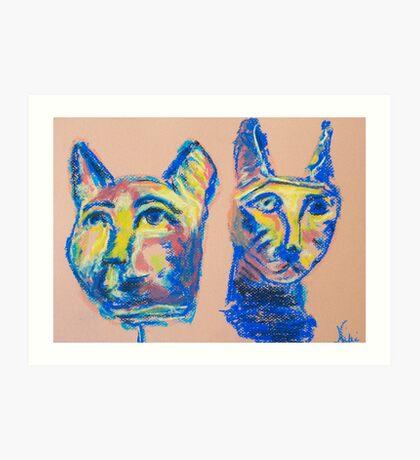 Cats (pastel) Art Print