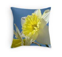Spring Sunny Daffodil Flower Blue Sky art Baslee Troutman Throw Pillow