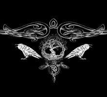 Odin Tree of Life and Ravens Hugin and Munin White by wildwildwest