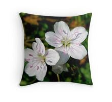 Spring Beauty Wildflower - Claytonia virginica Throw Pillow