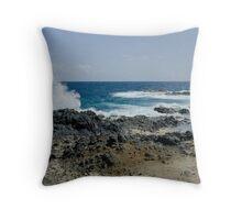 Sea Crashing Against Lava Rocks, Aruba Throw Pillow