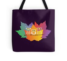 Three Little Autumn Owls Tote Bag