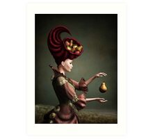 Madam Fruit and the levitating pear Art Print