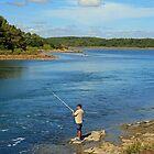 Fishing, Gofe du Morbihan, Brittany by Liz Garnett