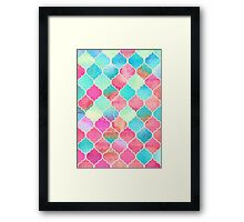 Watercolor Moroccan Patchwork in Magenta, Peach & Aqua Framed Print