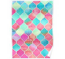 Watercolor Moroccan Patchwork in Magenta, Peach & Aqua Poster