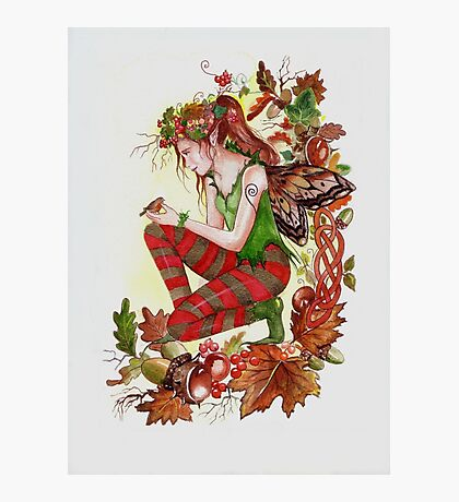 Autumn fall faerie fairy with robin Photographic Print