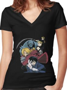 fullmetal alchemist edward alphonse elric hawkeye riza roy mustang havoc jean anime manga shirt Women's Fitted V-Neck T-Shirt