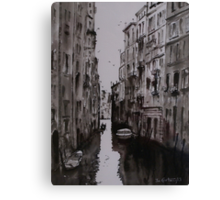 Venice Canal - Pen and Ink and Wash Canvas Print