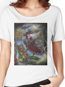 Halloween autumn fall cat night, moon witch Women's Relaxed Fit T-Shirt