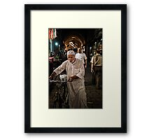 A man and his bycicle Framed Print