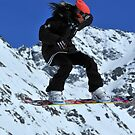 girl on snowboard by neil harrison