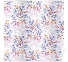 Branch with delicate flowers.  Watercolor seamless pattern Poster