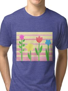 Flower Bed On Baby Pink Tri-blend T-Shirt